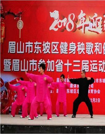 东坡区成功举办2018迎新春健身秧歌和健身气功展示活动