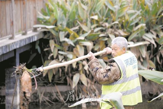 徐双贵正在打捞河道杂物。.jpg